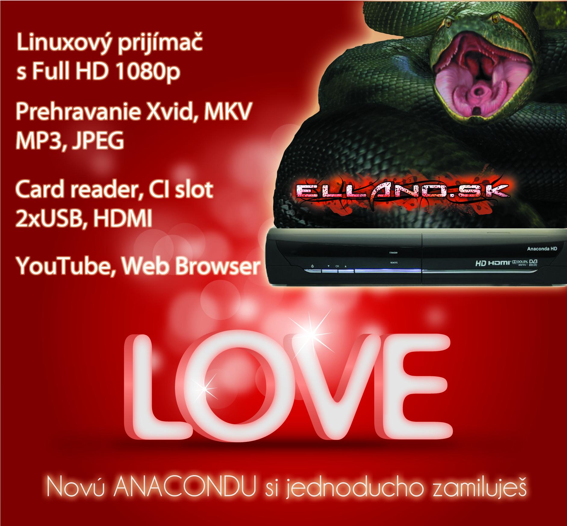 4193edb1c Optibox Anaconda Preview Digitálny satelitný linuxový prijímač s možnosťou  príjmu programov vo vysokom rozlíšení Full HD 1080p. Má 1x čítačku kariet  Conax, ...